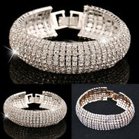 Fashion Charm Women Crystal Rhinestone Cuff Bracelet Bangle Jewelry Xmas Gift