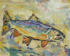 Art Original Oil Painting RM Mortensen Fish Brook Trout Fishing