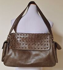 NWT CASSANDRA LOS ANGELES Brown Leather Handbag Gold Studded Purse Bag $595