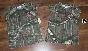 Lot of 2 NEW Girls Youth MOSSY OAK Break-Up Infinity Camo T-Shirts Tees Hunting