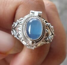 925 Sterling Silver-PRM10-Bali Carved Poison/Wish Locket Ring &Blue Agate Size 8