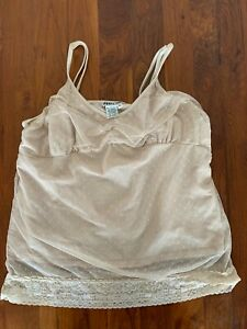 WinterSilks Adjustable Two Layer Lace Camisole BEIGE XL Preowned