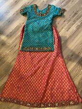 Pakistani Wedding bridal Pink & Green lehenga choli indian Party Dress