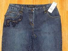 NWT INC EMBELLISHED DISTRESSED FLARE LEG BLUE JEANS WOMEN'S SIZE 8 - MSRP $89.00