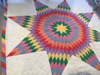 Patchwork Quilt, Hand Made, LONE STAR, Hand Quilted, Solids & Mini Dots, Multi