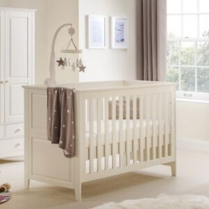 Cameo Stone White Wood Cotbed - Fits 140cm x 70cm Cot Mattress