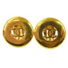"Authentic Chanel Vintage Cc Logos Button Earrings 1.0 "" Clip-On France Ak16967h"