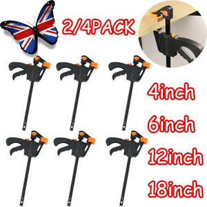 """2/4PCS  4'' 6"""" 12"""" 18'' Wood Working F Clamp Grip Ratchet Quick Release Squeeze"""