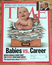 TIME MAGAZINE APRIL 15 2002 MIDDLE EAST BUSH'S GAMBLE BABIES VS. CAREER   VG