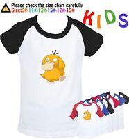Cartoon Pokemon Psyduck Design Kids Childs T-Shirt Boy Girl Graphic Tee Top Gift