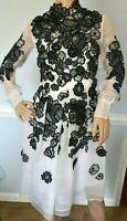 ERDEM Effie Floral Embroidered Silk Organza Cocktail Dress IT 38 / UK 6 / US 2