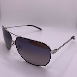 Maui Jim Kami Sunglasses MJ778-06A Polarized Aviator Silver Black Grey Lenses