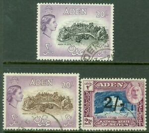 EDW1949SELL : ADEN 1951-54 Sc #61-61A Also Seiyun #26. Very Fine, Used. Cat $66.