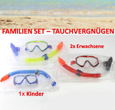 BADEN KOMPLETT: Schnorchel Set 2x Erwachsene 1x Kinder Tauchen Taucherbrille 2+1