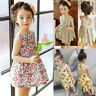 Toddler Kids Baby Girls Sunflower Print Sleeveless Backless Floral Dress Outfits