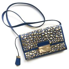Michael Kors Gia Royal Blue Leather & Gold Studded Clutch/Crossbody Bag $795