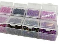 Rocailles Perlenset Glas 2/3/4 mm Violett/Lila Mix mit Sortierbox Schmuck AM30