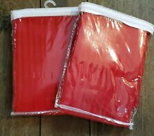 """2 (Two) New Ellery Homestyle Red Striped Panel Rod Pocket Curtails 42"""" W x 62"""" L"""