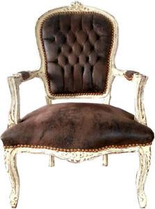 Casa Padrino Barock Salon Stuhl Braun Lederoptik / Antik Stil Creme - Möbel