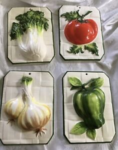 4 3D Raised Vegetables Wall Plaques Decor Green Bell Pepper, Tomatoes, Box Choy