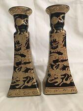 Cobalt blue/black Candlesticks with gold Dragon overlay