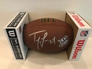 Ty Law Signed Wilson NFL Full Size Football New England Patriots 3 x SB Champ