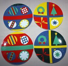 Lot of 4 MOMA Gene Meyer Holiday Salad Plates Museum of Modern Art Christmas