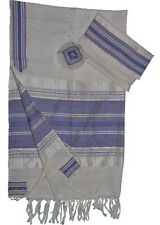 "White Gabrieli Silk Tallit Blue & Silver Stripes 50""x80"""