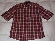 Authentic Buffalo David Bitton Plaid Military Button Down Red Mens Shirt Sz XL