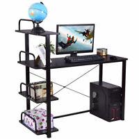 4 Tier Computer Desk Wood Laptop Writing Table Shelves Office Black W/ Shelves