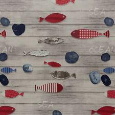 Stoff Baumwolle Swafing Lennart beschichtet, Fische, Maritim, Beige, 155 cm