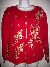 Heirloom Collectibles Women's Red & Gold Embroidery Cardigan Sweater Size L