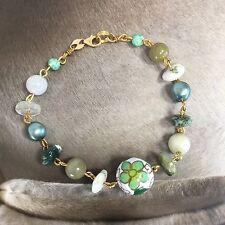 "14K Yellow Gold Chinese Jade & multi Stones Beaded Bracelet Size 8"" Vintage"
