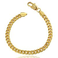 Yellow Gold Filled Chain Bracelet 14mm Curb Cuban Link