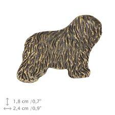 Polish Lowland Sheepdog - Bobtail, silver covered pin, high quality Art Dog Usa