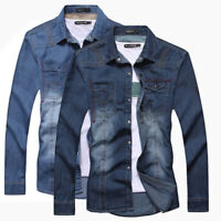 Mens Denim Shirts Long Sleeve Luxury Casual Slim Fit Jeans Washed Camisas E6188