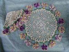 """SET OF 2 VINTAGE 15"""" ROUND CROCHETED DOILIES WITH PANSY BORDER"""