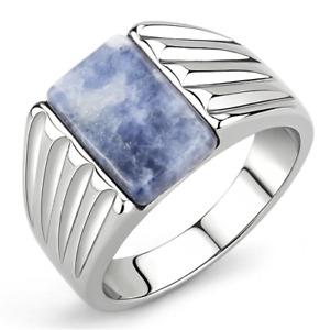 Mens agate ring blue capri genuine stone signet pinky stainless steel new 1799
