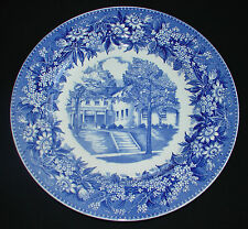 "VINTAGE WEDGWOOD CHINA HEIDELBERG COLLEGE BLUE TRANSFERWARE 10"" PLATE MUSIC HALL"