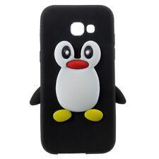 Samsung Galaxy A3 (2017) Silikon Handy Tasche 3D Pinguin Motiv Cover Bag Schwarz