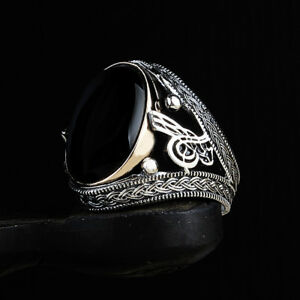 Handmade pure 925 SILVER rings Onyx stone for Men all sizes jewelry Box RRP £40