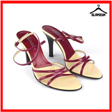 Carvela Kurt Geiger Red Leather Strappy Sandal Heels Size 38.5 Boxed