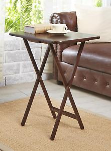 Mainstays (2-Pack) Folding TV Tray Table Set in Walnut