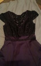 Karen Millen Lace Bodice Panelling Party Dress UK 10 Black Purple DT246