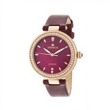 Empress Louise Women's MOP Crystal Burgundy Leather Rose Gold Watch EM2304