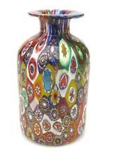 X Rare Vintage Murano Millefiori Murrine & Gold Art Glass Vase Fratteli Toso