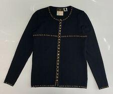 Authentic FENDI Vintage Logo Line Knit Cardigan Sweaters #38 Black Wool Rank AB