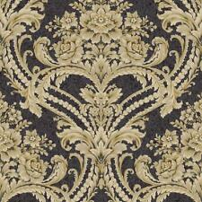 Wallpaper Baroque Floral Damask Wallpaper, Black Bankground with Tan, Gray, Gold