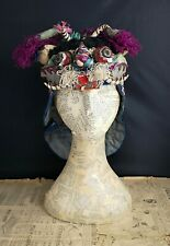 Antique Chinese silk festival hat, Qing dynasty, Tiger
