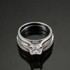 Elegent Women Princess White CZ Zircon Copper Wedding Band Engagement Ring Sets 8